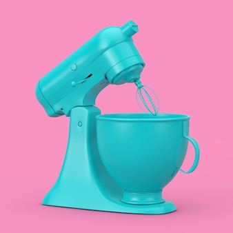 Mélangeur de nourriture de support de cuisine bleu dans le style duotone sur un fond rose. rendu 3d