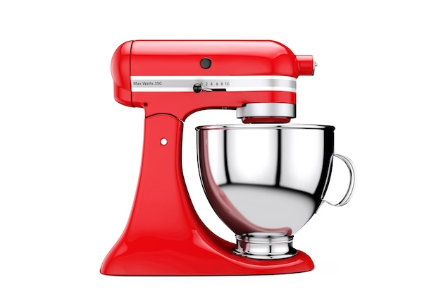 Mélangeur de nourriture de support de cuisine rouge sur un fond blanc. rendu 3d