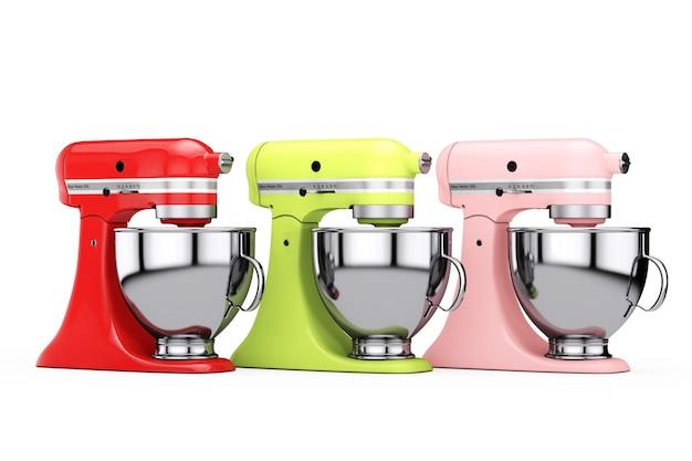Mélangeurs de nourriture de support de cuisine multicolores sur un fond blanc. rendu 3d