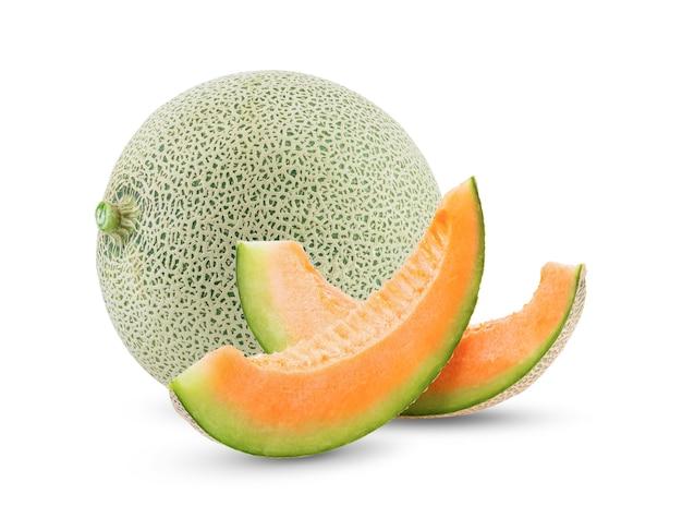 Melon cantaloup isolé sur fond blanc