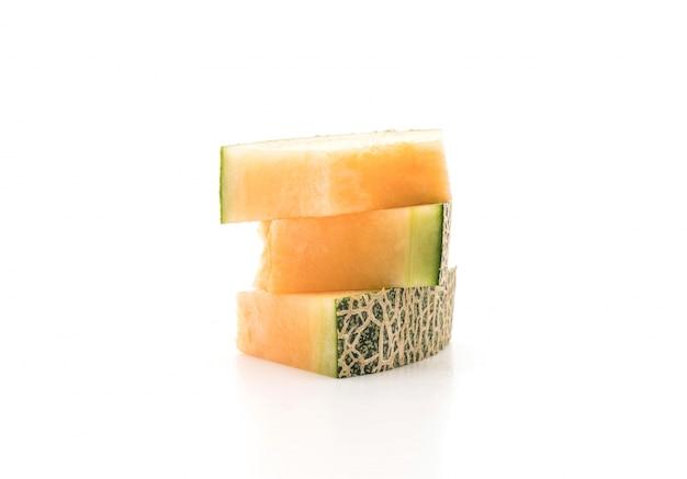 Melon de cantaloupe sur blanc