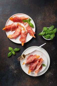 Melon doux et jambon