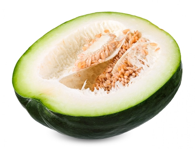 Melon d'hiver isolé sur un tracé de cllipping blanc