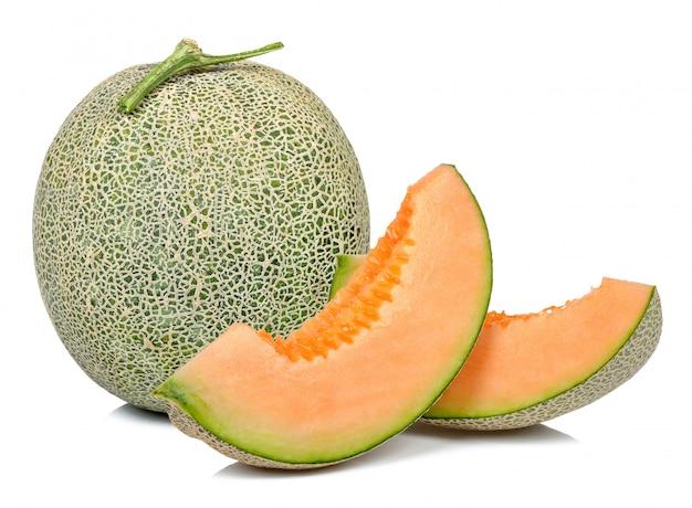 Melon isolé sur le fond blanc