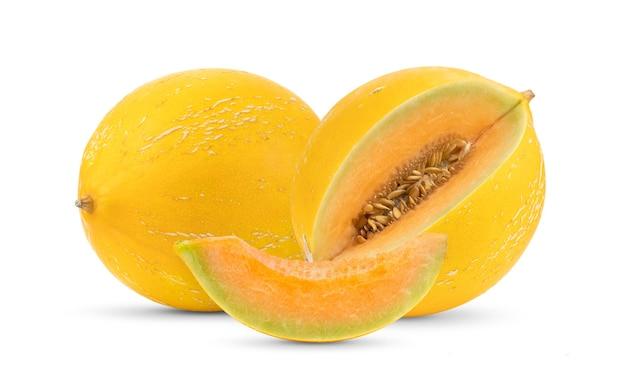 Melon jaune isolé sur blanc