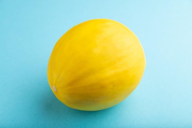 Melon jaune mûr sur fond bleu pastel. vue latérale, gros plan. récolte, nourriture saine et végétalienne,