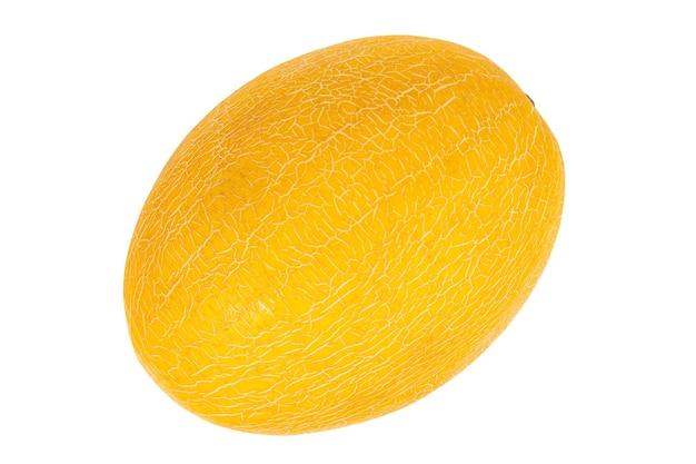 Melon mûr jaune isolé sur fond blanc