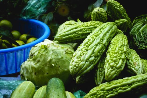 Melons amers au marché asiatique