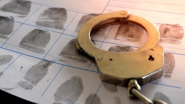 Menottes de police sur le fichier de la page des crimes d'empreintes digitales