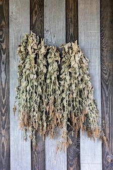 La menthe séchée au soleil est accrochée à un mur en bois, gros plan