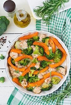 Menu diététique. filet de poulet au four avec un brocoli et une citrouille aux herbes épicées. vue de dessus