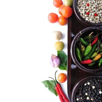Menu d'ingrédients pour cuisiner avec des légumes