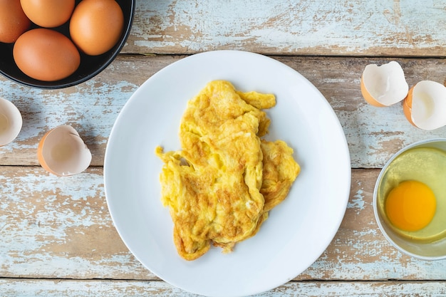 Menu omelette cuit