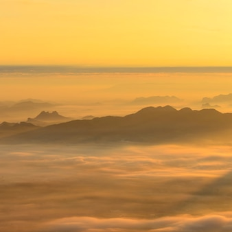 Mer de brume et fond de lever de soleil.