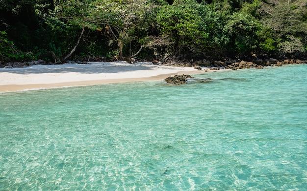 Mer claire et plage blanche de la vue du bateau