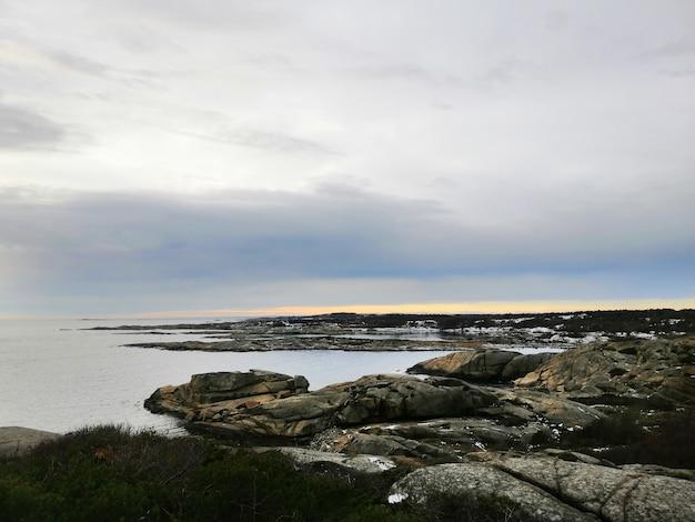 Mer entourée de rochers couverts de branches sous un ciel nuageux pendant le coucher du soleil en norvège