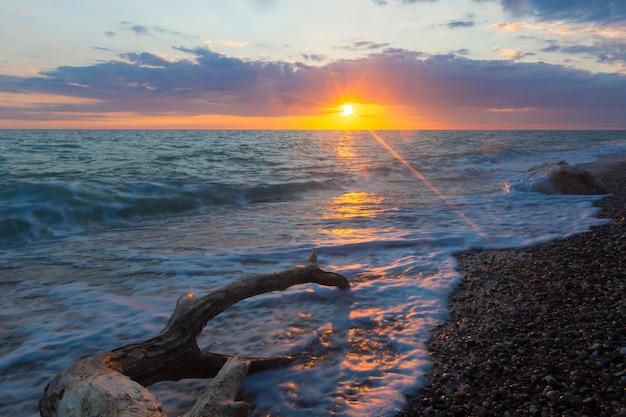 Mer surf sur une plage pierreuse.