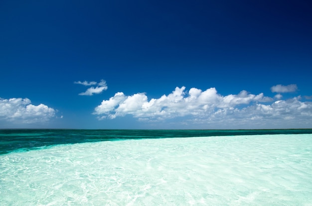 Mer tropicale sous le ciel bleu