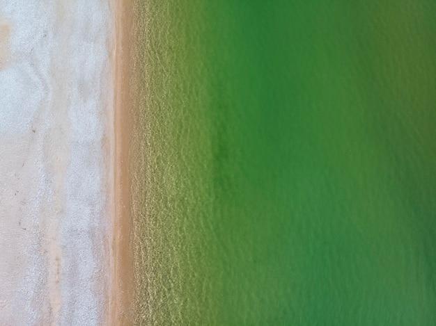 Mer verte et sable sur la plage en grèce vue drone