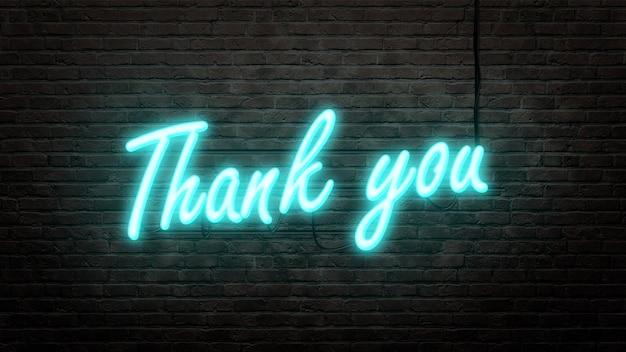Merci emblème de signe au néon dans un style néon sur fond de mur de brique
