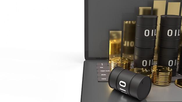 Merci d'huile et graphique sur le rendu 3d d'un ordinateur portable pour la teneur en pétrole.