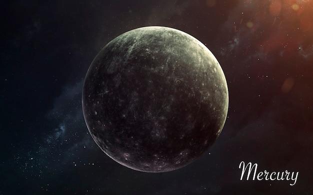 Mercure. planètes de qualité impressionnante du système solaire. image scientifique parfaite en 5k. éléments de cette image fournis par la nasa