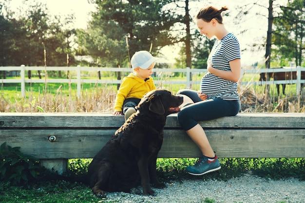 Une mère enceinte et son fils marchent avec un chien et passent du temps ensemble dans le parc naturel