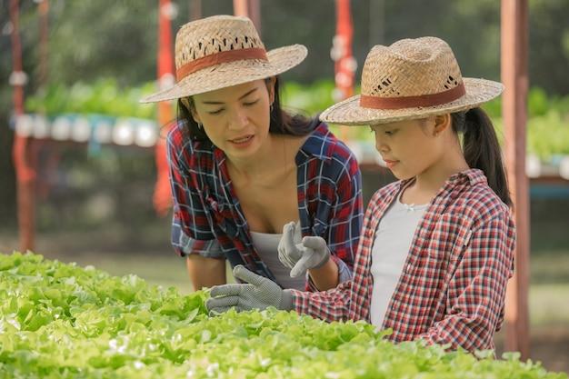La mère et la fille asiatiques aident ensemble à collecter les légumes hydroponiques frais dans la ferme, le jardinage conceptuel et l'éducation des enfants à l'agriculture domestique dans le style de vie de famille.