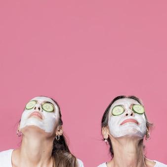Mère fille, avoir, masque facial