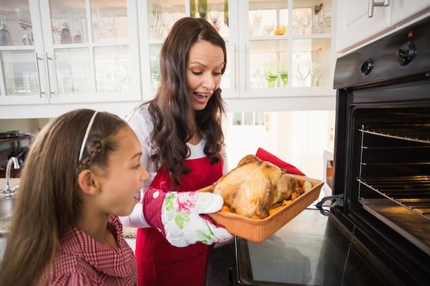 Mère et fille surpris avec dinde rôtie