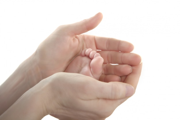 Mère, fils, fille, tenue, pieds