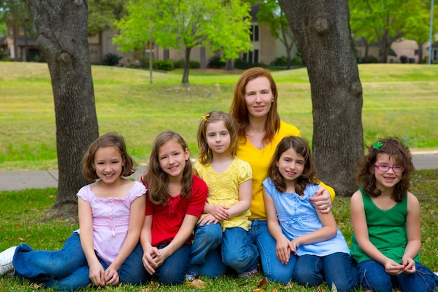 Mère, professeur, à, filles, fille, dans, parc