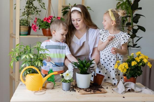 Mère avec son fils et sa fille dans une plante à jeun ou transplanter des fleurs d'intérieur enfant aide ménagère