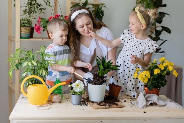 Mère avec son fils et sa fille dans une plante à jeun ou transplanter des fleurs d'intérieur jardinage à la maison