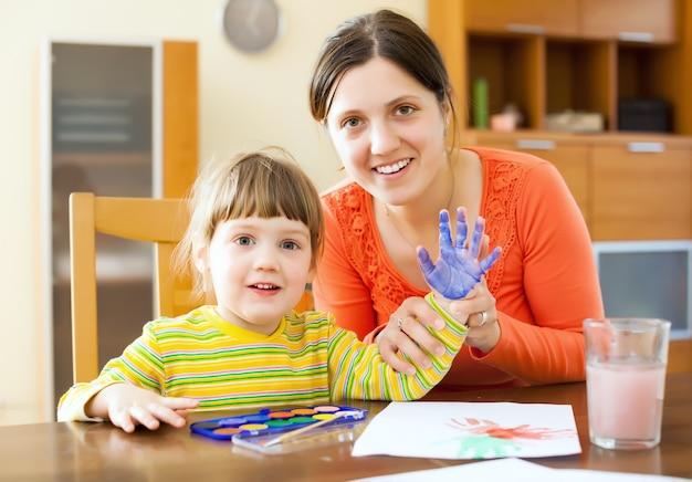 Merveilleuse peinture mère et enfant sur papier