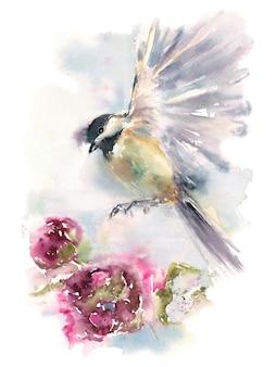 Mésange oiseau survolant une fleur, illustration aquarelle pour enfants