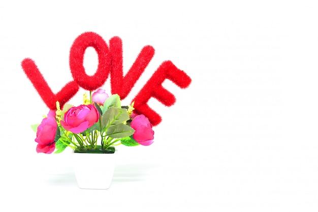 Message d'amour avec fleur de roses roses
