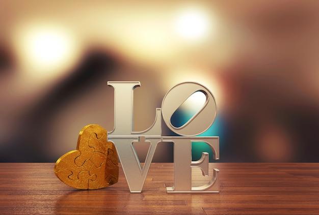 Message d'amour avec puzzle coeur