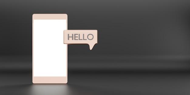 Message bonjour dans les applications de communication de la boîte de réception satellite via l'illustration 3d du téléphone