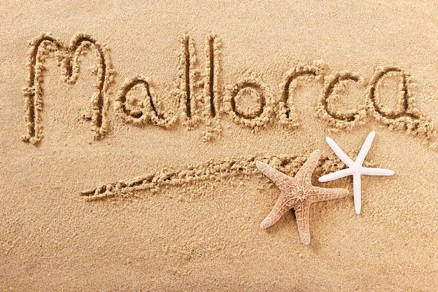 Message d'écriture de plage d'été majorque majorque