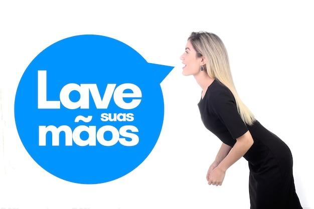 Message de lave suas maos (lavez-vous les mains en portugais) contre le coronavirus, covid-19, 2019-ncov, sars-cov-2. menace de virus pandémique.