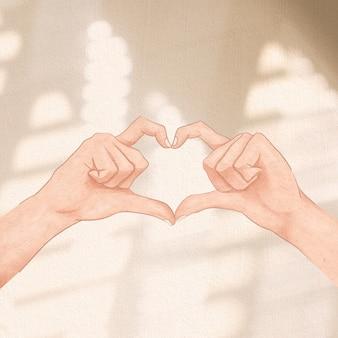 Message de médias sociaux de geste de main de coeur mignon