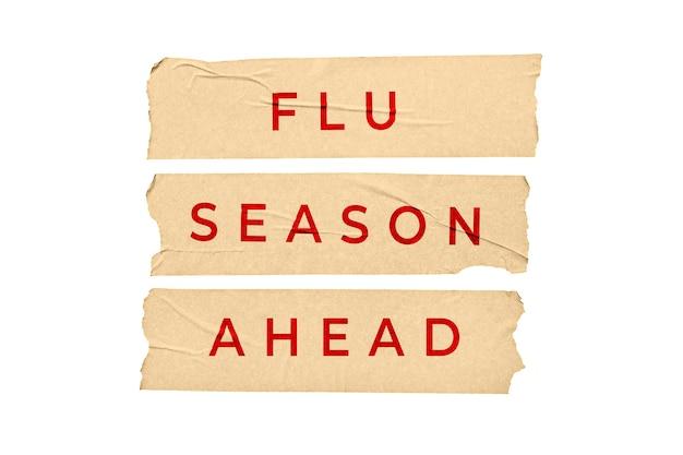 Message de la saison grippale à venir. autocollants de bande avec texte isolé sur fond blanc