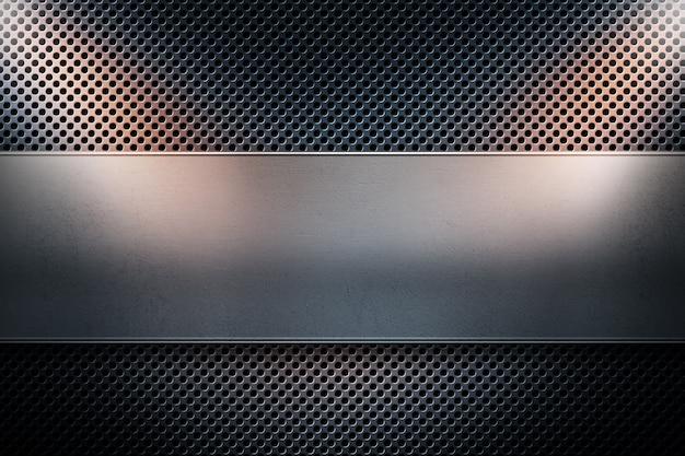 Métal perforé abstrait bleu moderne avec métal poli