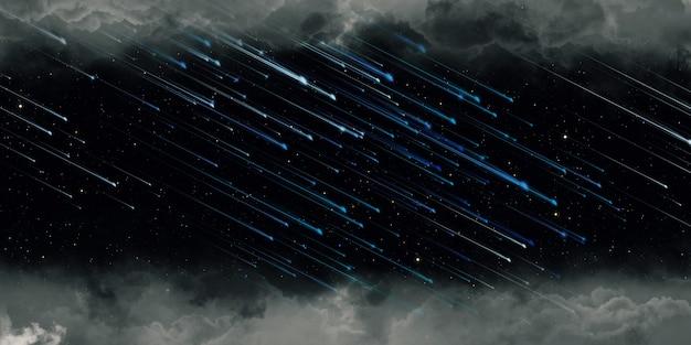 Météore et pleine lune nuit nuageuse illustration 3d