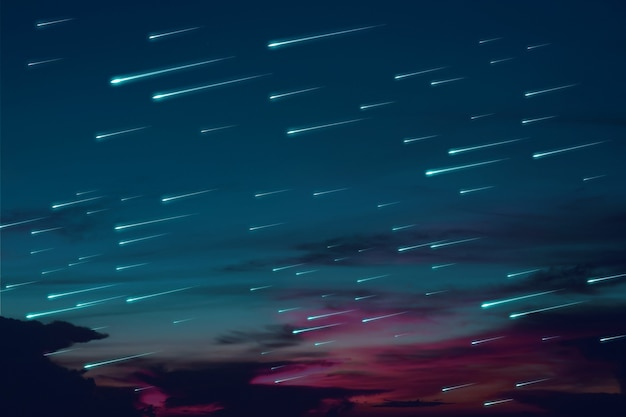 Des météores bleus pleuvent sur le nuage sombre du ciel nocturne du coucher du soleil