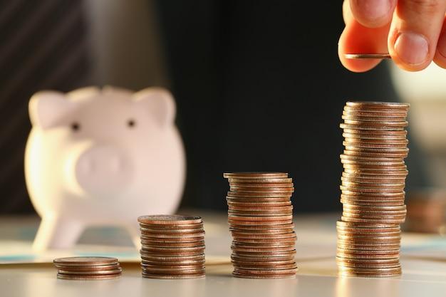 Mettre de l'argent dans le porc à la main