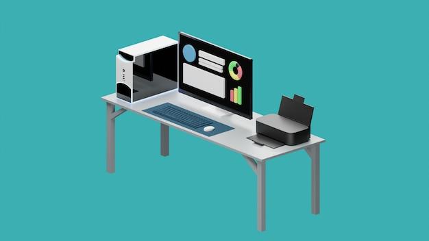 Mettre en place un ordinateur personnel de l'espace de travail avec le rendu 3d de l'imprimante
