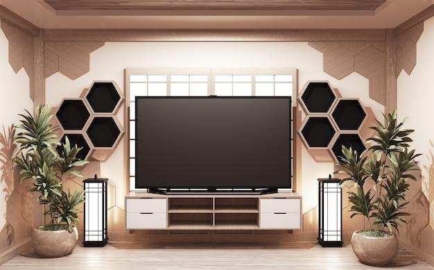 Meuble en bois de style japonais avec tv et étagères hexagonales