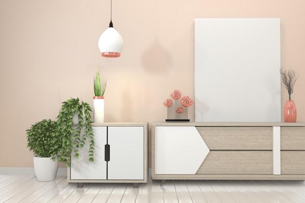 Meuble étagère tv dans une salle vide moderne et un mur japonais de style rose.